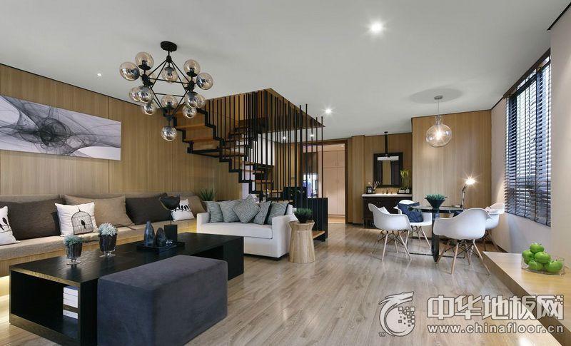 代简约风格客厅浅灰色木地板装修效果图 复合木地板图片图片